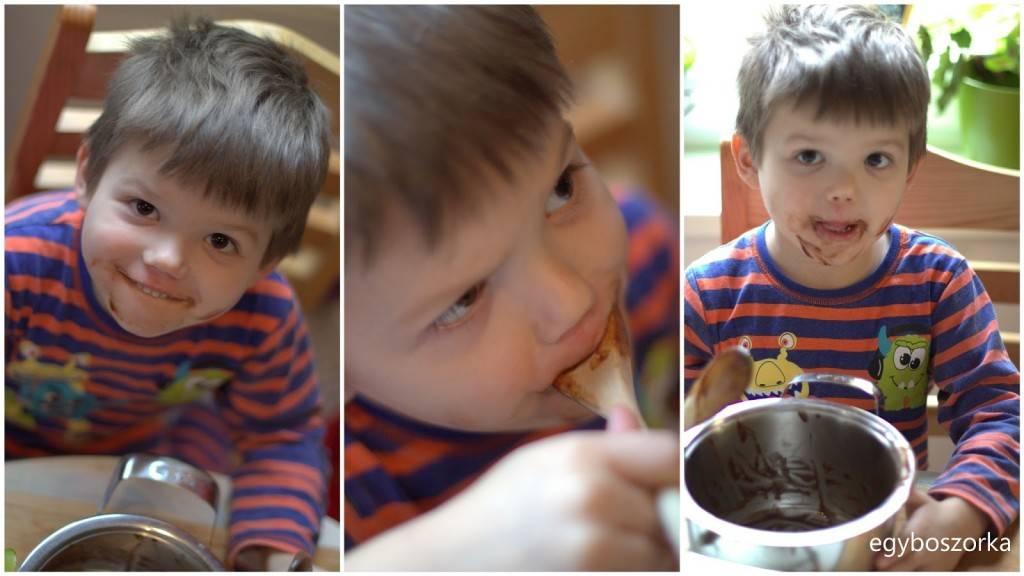 20120103 - Játékos hétköznapok, Gergő kinyalja a csokis fazekat